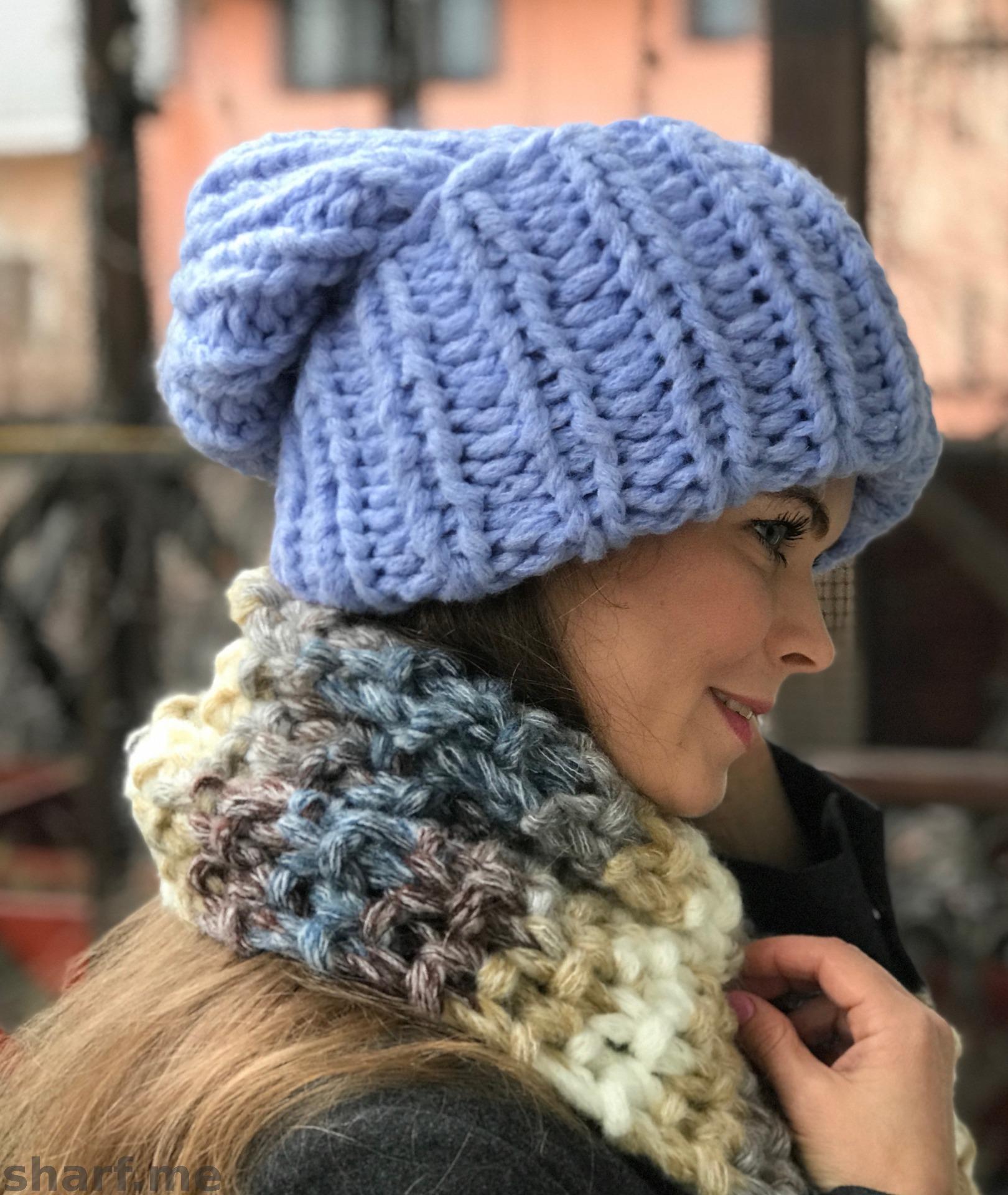 Крупное вязание шапок с отворотом